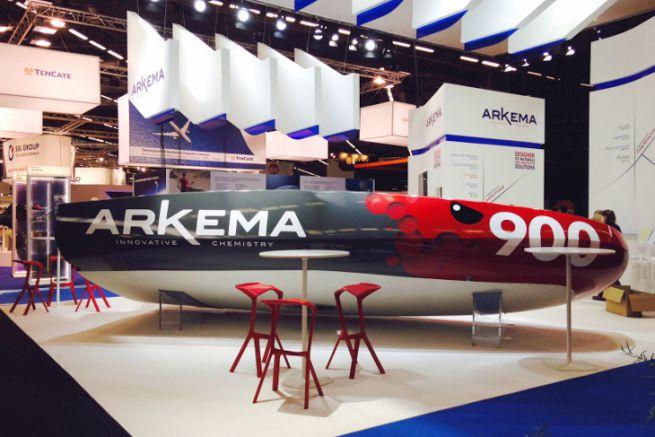 Le Mini 6.50 Arkema lors de sa présentation au JEC World 2016