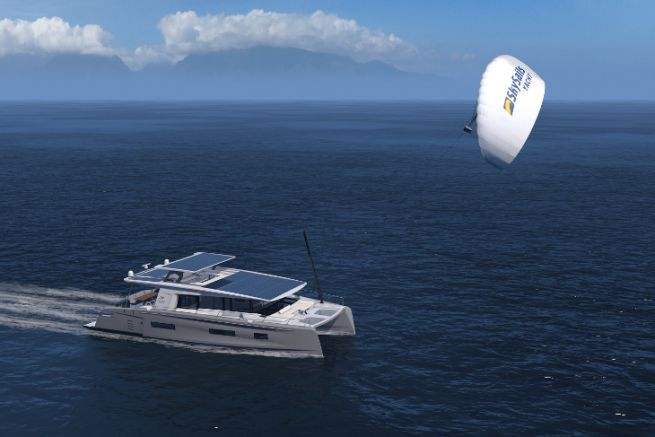 Rendu du futur Silent 75 avec un kite Sky Sails