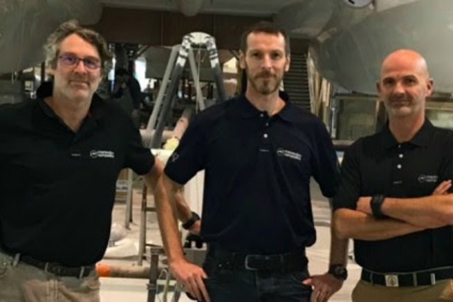 Sam Marsaudon, Damien Cailliau et Frédéric Blandin, l'ancien et les nouveaux dirigeants de Marsaudon Composites