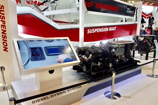 Présentation du moteur marin hybride Yanmar - Transfluid à Yokohama